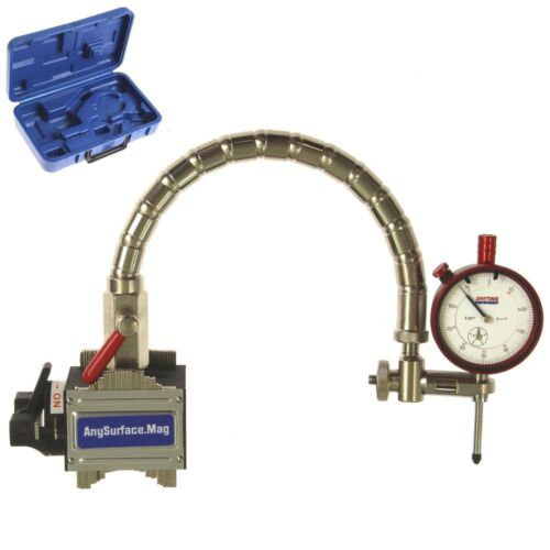 """Magnetic Base Dial Indicator 1""""/.001"""" Flexible Arm Contour Uneven Any Surface"""