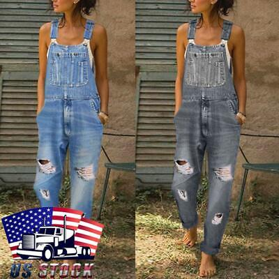 Vintage Overalls & Jumpsuits Womens Denim Jeans Dungarees Overalls Jumpsuit Baggy Ripped Bib Trousers Pants $15.29 AT vintagedancer.com