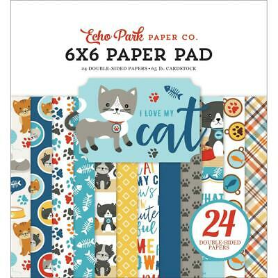 Scrapbooking Crafts 6X6 Paper EP I Love My Cat Fish Bones Paw Prints Plaid Meow Plaid Scrapbooking Paper