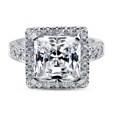 BERRICLE Sterling Silver Princess Cut CZ Halo Cocktail Fashion Right Hand Ring Clear Princess Cocktail Ring