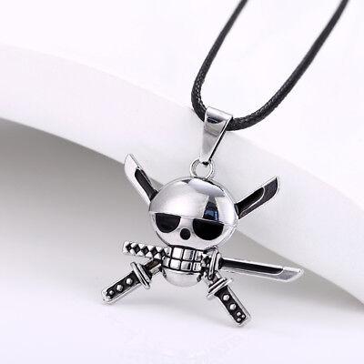 Anime One Piece Roronoa Zoro Skull Sword Symbol Necklace Pendant Gift