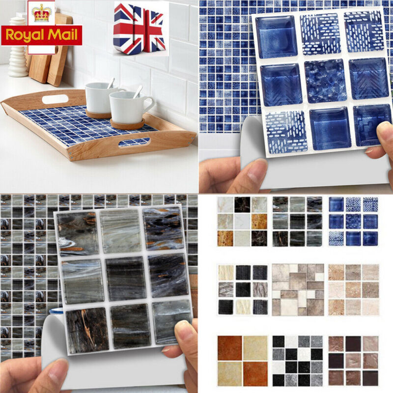 Home Decoration - 180x Kitchen Tile Stickers Bathroom Mosaic Sticker Self-adhesive Wall Decor C