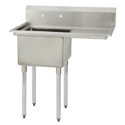 1 One Compartment Commercial Stainless Steel Prep Pot Sink 38.5 X 23.8