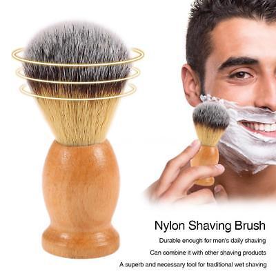 Nylon Hair Shaving Brush Natural Wood Barber Salon Cream Soa