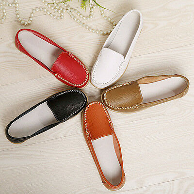 2017Fashion Women Loafers Shoes Flat Boat Oxfords Casual Leather Shoes USPS 1