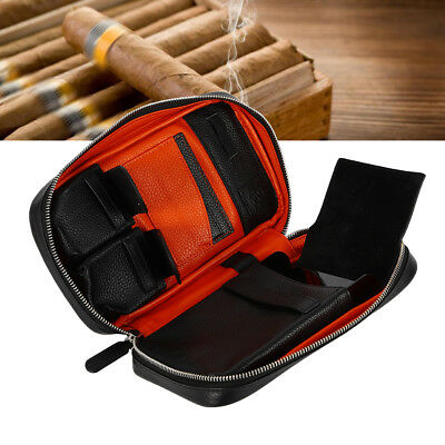 GIFT! Genuine Leather Cigar Case Travel Humidor Bag Hold 5 Cigars 2 Pockets