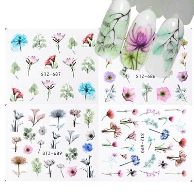 Nail Art Water Transfer Sticker Flower Rose Butterfly Flamingo Seashell Decals
