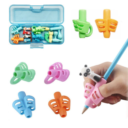 3pcs 2//3-finger Kid Baby Pen Pencil Holder Help Learn Grip Writing Tool Silicone