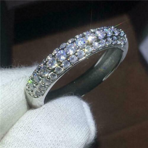 2 Ct Excellent Round Cut Diamond Eternity Wedding Band Solid 14K White Gold