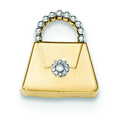 14K Two-tone Gold Purse Charm Pendant MSRP $125