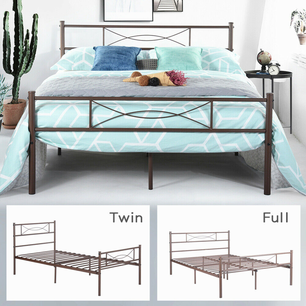 Metal Bed Frame Twin Full Mattress Foundation w Headboard fo