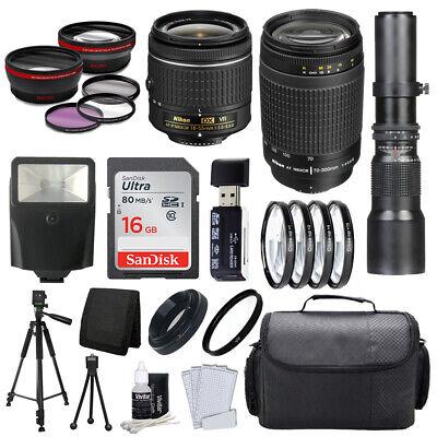 9 Lens Bundle! Nikon 18-55 VR & 70-300 + 500mm + 32GB + Best Value (Best Lens Filters For Nikon)
