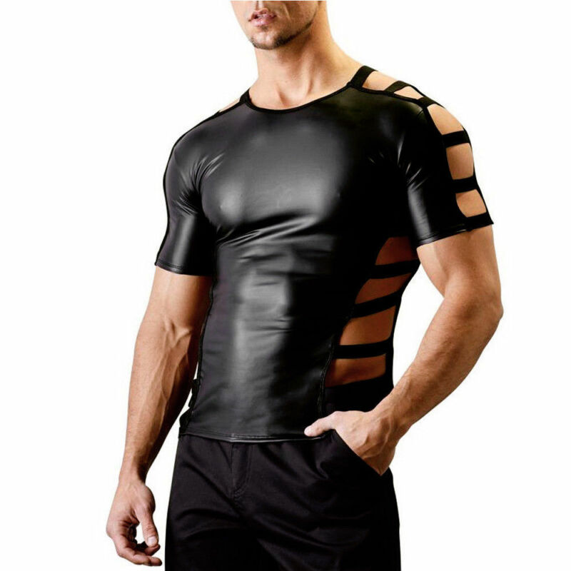 Mens Shiny Wet Look V-neck Shirt Faux Leather Clubwear Party Show Tops T Shirts