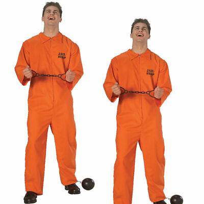 Uomo Prigioniero Arancione Carcerato Tuta Costume da Adulti