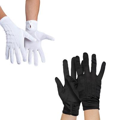 Handschuhe  mit Knopf & Biesen, schwarz o. weiß, ideal für Verkleidungen/Kostüme ()