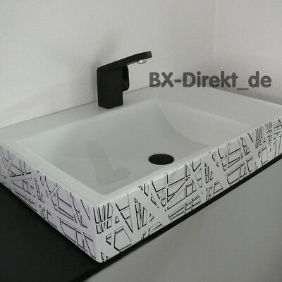 Schwarz und Weiß Designer Keramik Waschtisch mit Ablage U (Dekor In Schwarz Und Weiß)