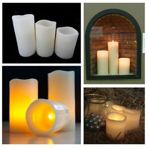 3 JUMBO Unscented LED WAX Candles Battery Operated Flicker Flame REAL LOOK Smoke