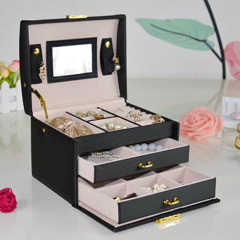 Jewellery - LARGE BLACK JEWELLERY BOX LEATHER FINISH JEWELRY STORAGE 2 DRAWER UK