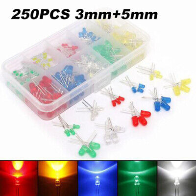 250pcs 35mm Led Light Emitting Diode Electronic Kit White Green Yellow Red Blue