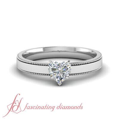 3/4 Carat Solitaire Heart Diamond Milgrain White Gold Engagement Ring For Women