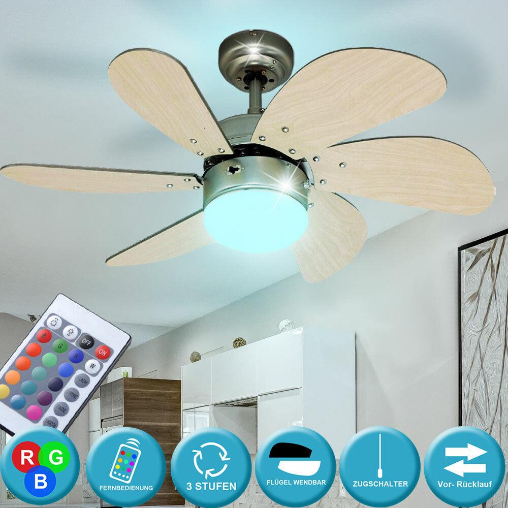 RGB LED Decken Ventilator Glas Lampe Dimmer FERNBEDIENUNG Kühler Wohn Zimmer