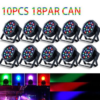 10Pack DJ PAR Wash RGB 18*3W LED Lights PAR64 DMX Stage Lighting DJ Party Lights
