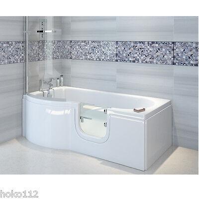 Badewanne mit Tür 167,5x85/75cm + Duschabtrennung + Wannenschürze + Ablauf/Sifon