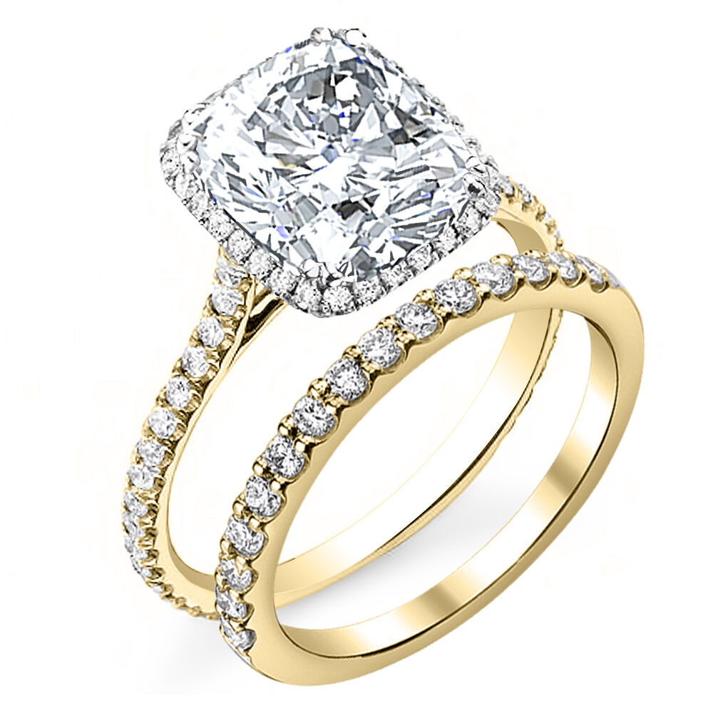 2.70ctw Natural Cushion Halo Pave Eternity Diamond Bridal Set - GIA Certified