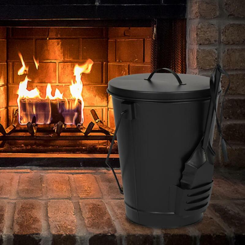 Ash Bucket with Lid, Coal Shovel,Ash Carrier Pail Fireplace Tools,Fire Pit