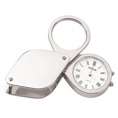 Natico Originals Silver Travel Alarm Clock With Magnifier And Leather Case