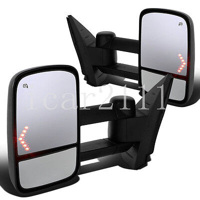 For 07-13 Chevy Silverado Sierra Tahoe Side Tow Mirror Pair Power Heated w/Arrow