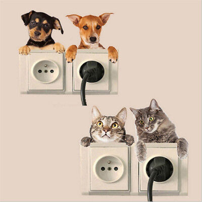 Kids Decor 4 Patterns Decal Kitchen Funny Bedroom 3D Sticker Switch Wall Dog