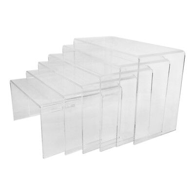 Set Of 6 Clear Acrylic U Cubes Riser Nester Display Rack Fixture Retail Store