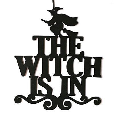Indoor and Outdoor Halloween Party The Witch Is In Hanging Door Decoration F1J0
