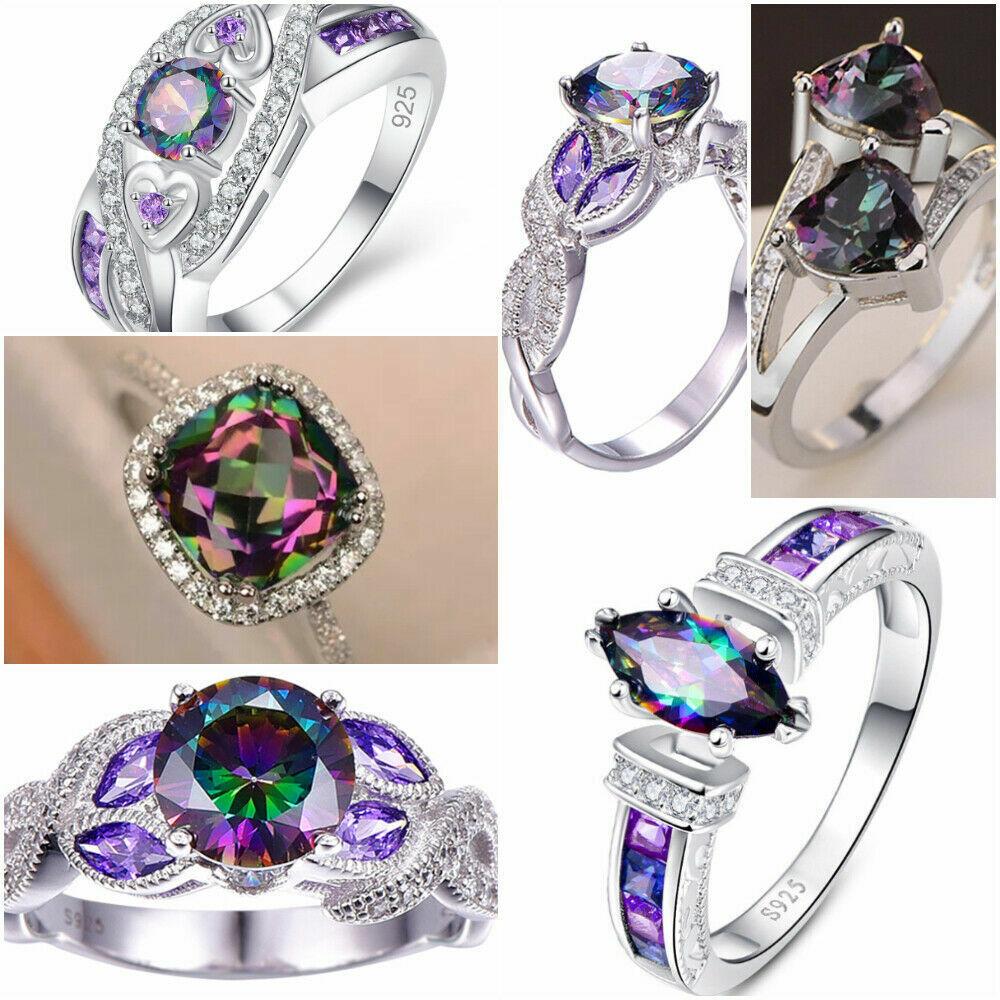 Mystic Topaz 925 Silver Rings Fashion White Sapphire Wedding Women Rings Sz 6-10
