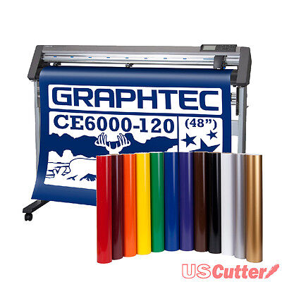 "Graphtec 48"" CE6000-120 Vinyl Cutter Plotter w/ Stand & BONUS 12-roll Vinyl Pack"