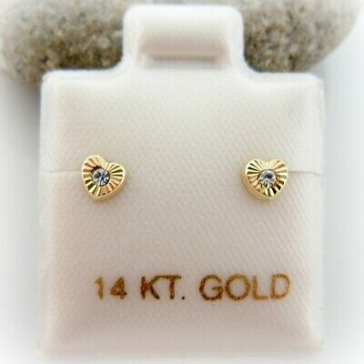 14K Solid Yellow Gold Tiny Baby CZ Heart Screwback Girl Gold Earrings  Solid 14k Gold Heart Earrings
