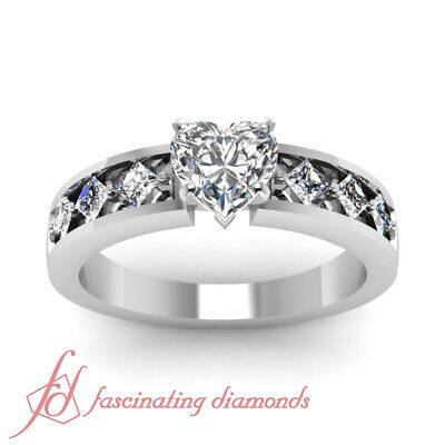 Channel Set Engagement Ring 1.20 Ct Heart Shaped & Princess Cut Diamond SI1 GIA 2
