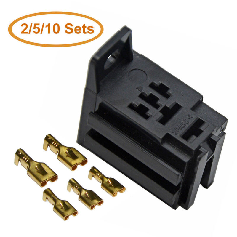 2/5/10Pcs Relay Socket 5-Pin for 40A Relay Connector & 5 Terminals Auto Vehicle