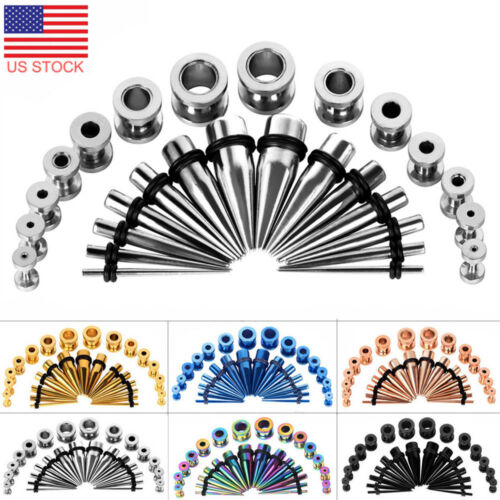 28PCS Ear Stretching Gauges Set Tapers Tunnels Plugs Kit 12G