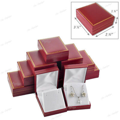 Lot Of 12 Large Earring Boxes Red Leatherette Gift Boxes Earring Jewelry Boxes
