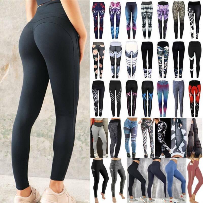 Women Ruched Push Up Leggings Yoga Pants Anti Cellulite Sport Scrunch Trousers 17