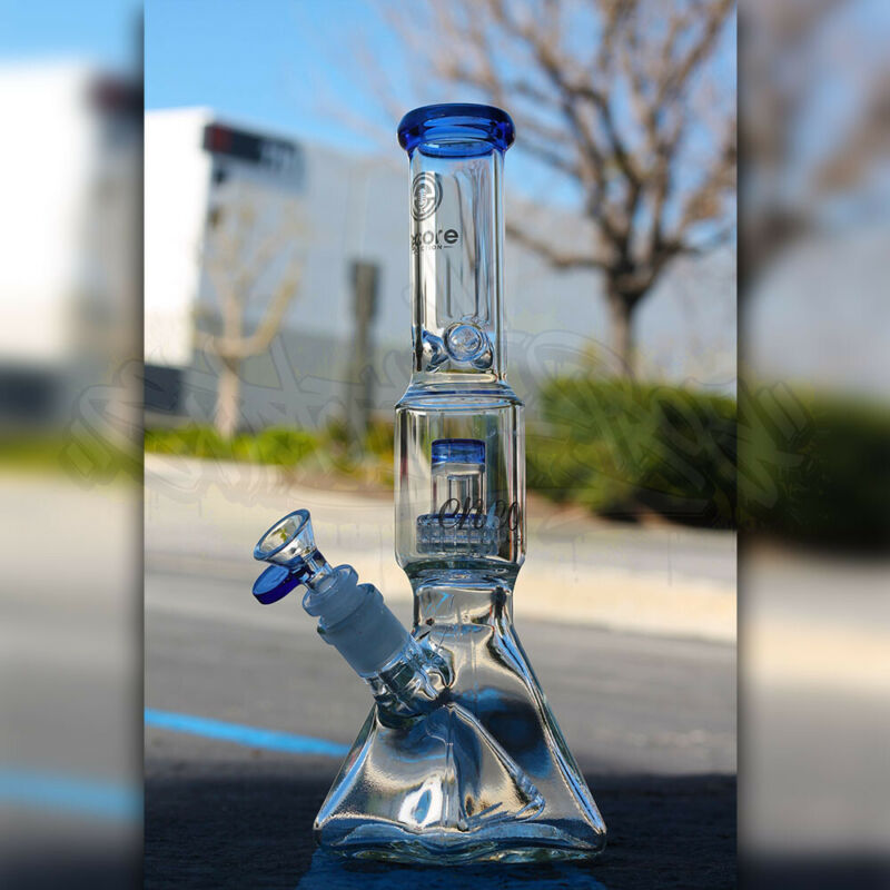 Hookah Water Pipe Heavy Glass 12 inch Tobacco Bong Matrix Square Beaker Colors
