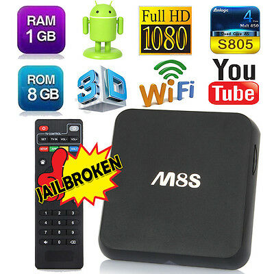 M8s Android 4.4 Quad Core Smart TV Box Media Player Fully Loaded Wifi