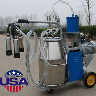 Usa25l Milker Electric Milking Machine For Cows Farm 304 Stainless Steel New