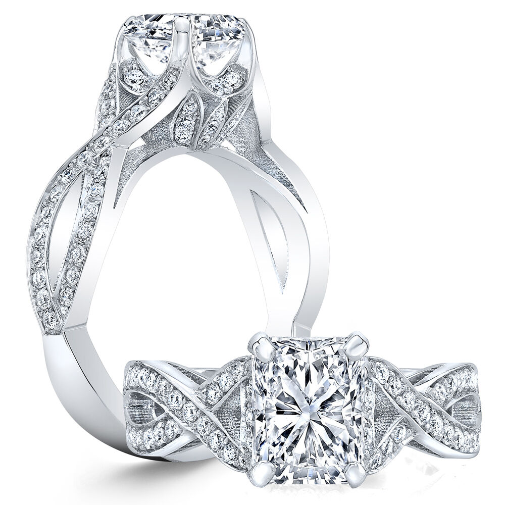 2.70ctw Natural Radiant Vintage Twisted Pave Diamond Engagement Ring - GIA Cert