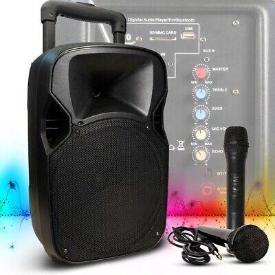 400W Sistema de Sonido Trolley Altavoz USB Bluetooth Radio Cable Micrófono