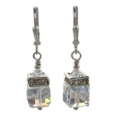 Clear Square Cube Crystal Rhinestone Dangle Earrings with crystal from Swarovski ()