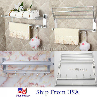 شماعة حمام جديد Double Aluminum Wall Mounted Bar Bathroom Towel Rail Storage Rack Shelf