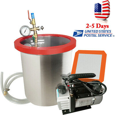 5 Gallon Vacuum Degassing Chamber Silicone Kit W 3 Cfm Pump Hose 110v Usa
